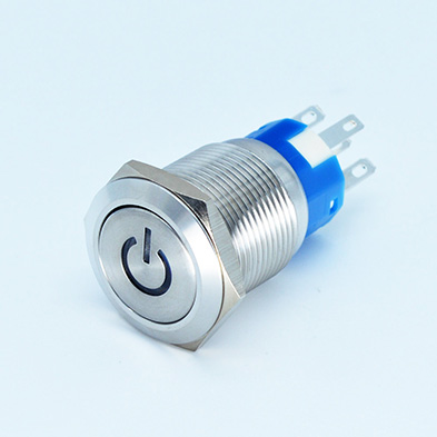 19mm  power symbol LED IP67  stainless steel/nickel plated brass metal push button switch