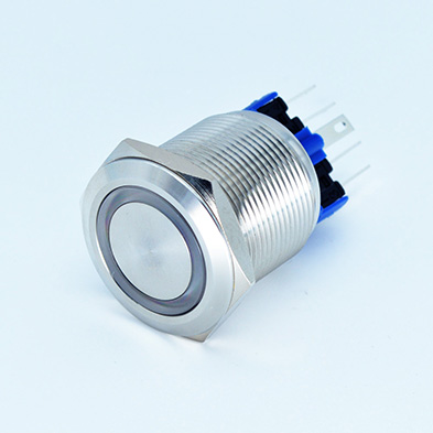 22mm Anti-vandal Metal Push Button Switch with Ring LED