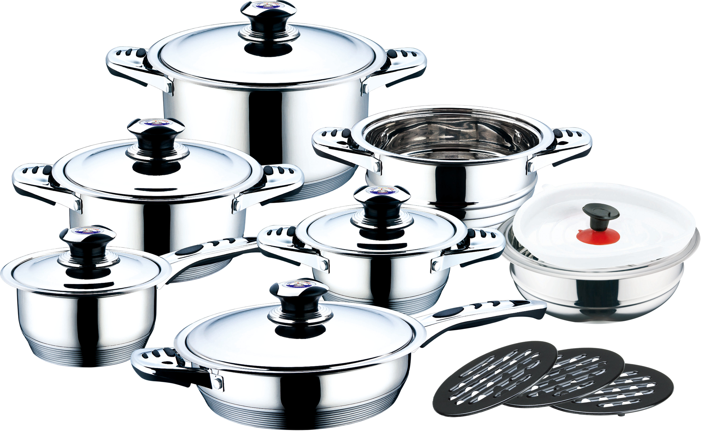 17pcs s/s lids stainless steel cookware set with thermometer