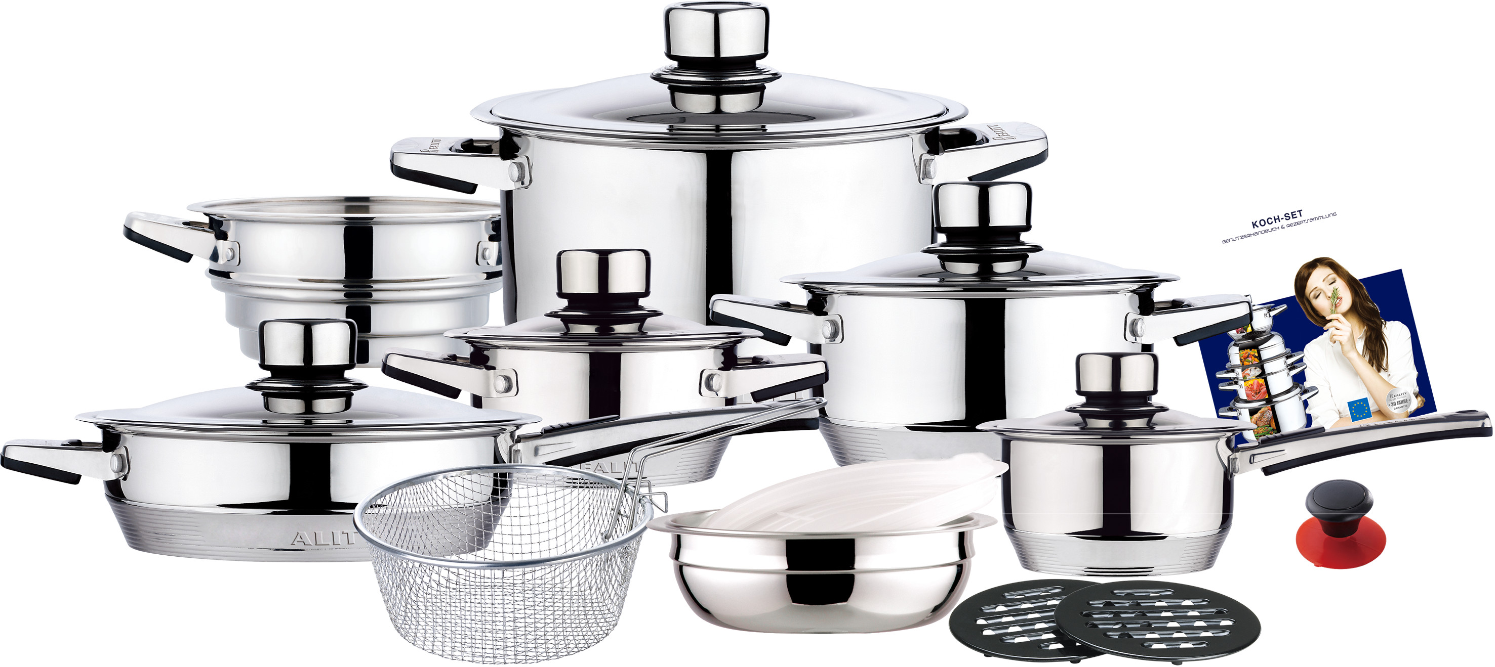 19pcs straight shape stainless steel cookware set with strong revit handle