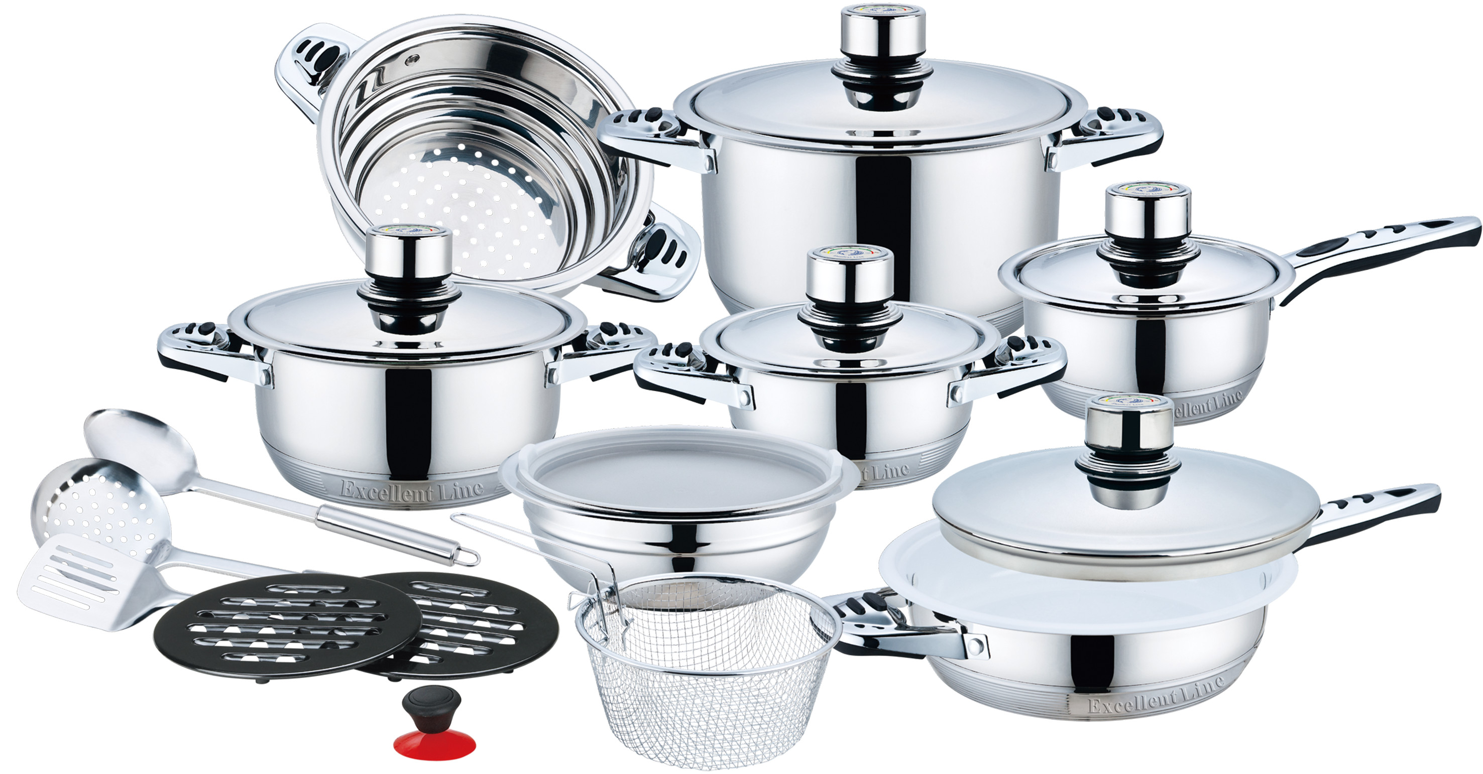 21pcs stainless steel cookware set with ceramic coating