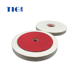 professional abrasive durable wool felt polishing wheel with red paper