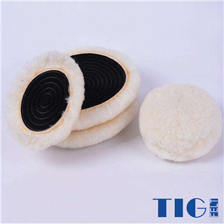 car gloss polishing wheel sheepskin wool compounding pads with loop backing