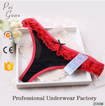 2017 new elegant fancy red lace ladies sheer sexy panties for sale