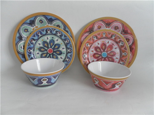 High quality full print melamine dinnerware /3 pcs melamine salad bowl and plate