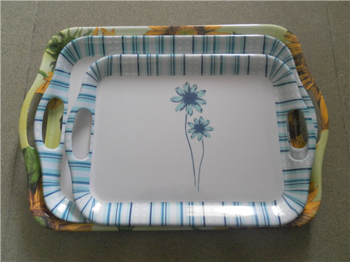 custom decal printed plastic melamine restaurant trays with handles : custom plastic dinnerware - pezcame.com