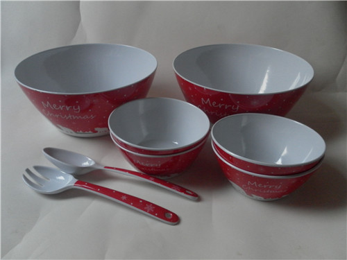 wholesale christmas melamine  dinner set /plate/ bowl/ spoon and fork
