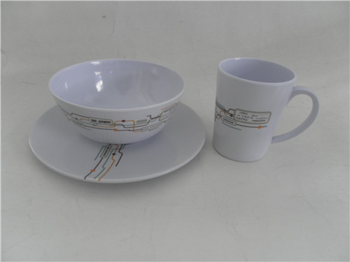 factory direct sale plastic round tumbler mug with handle/melamine salad bowl and flat plate 3pcs