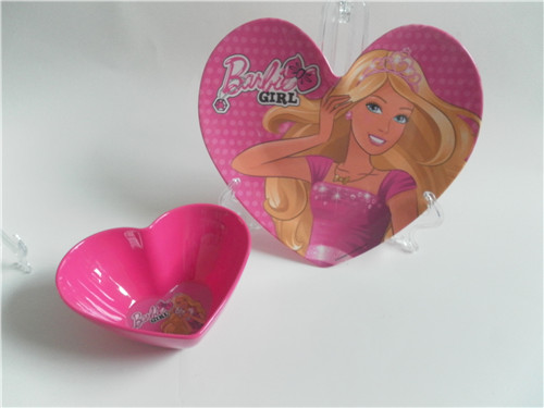Heart shape weeding use melamine candy bowl and plastic plate