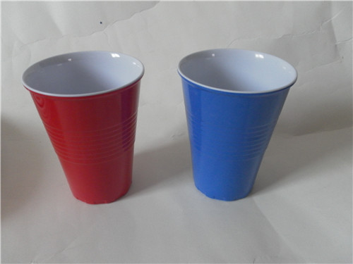 Double color reusable melamine drinking cup/plastic mug