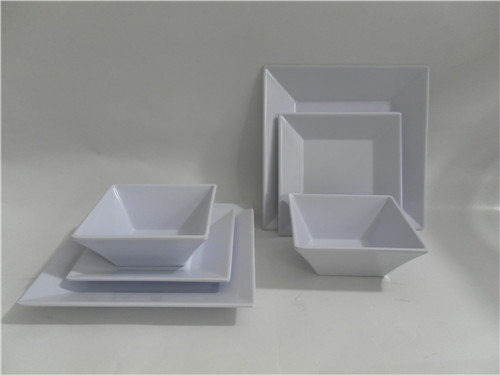 3pcs Melamine white square plate and bowl set and plastic dinnerware set