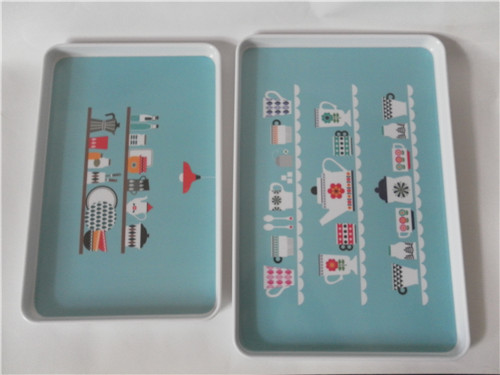 Straight rectangle plastic melamine dinner tray in serving trays with customer printed