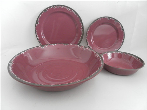 Rust Style Rustic Melamine Dinner Set /anti-slip matte bowl/plate