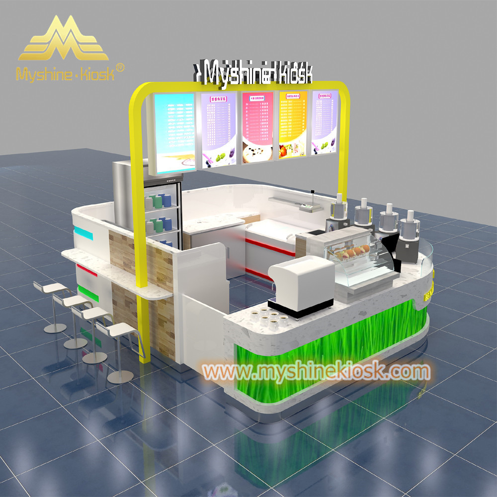 Custom Modern Shopping Mall Retail Food Kiosk Design Idea For Sale