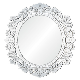 Etched oval devorative wall mirror for livingroom/bathroom/dining room