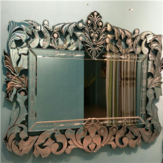 Etched rectangular delicate devorative wall mirror for livingroom/bathroom/dining room