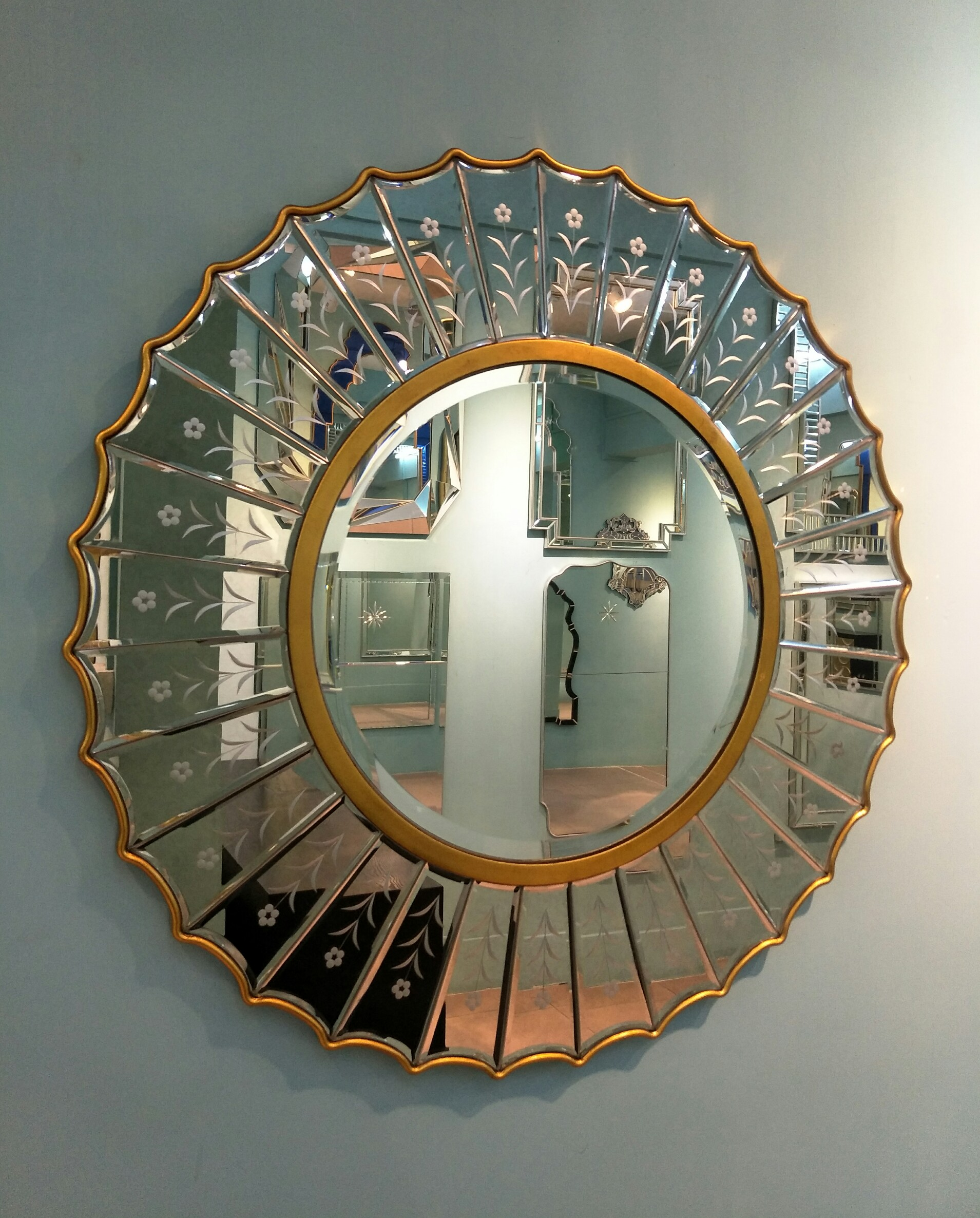Classic iron devorative wall mirror with silver leafing for livingroom/dining room