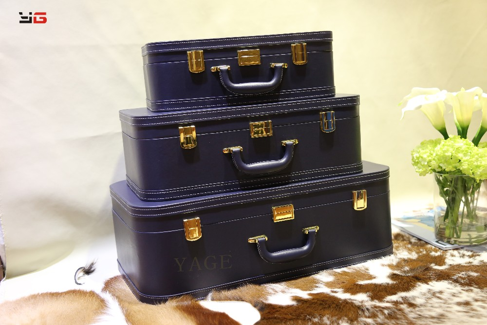 New design wooden PU decorative home leather travel suitcase/storage box