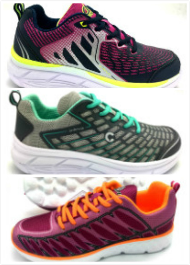 Rubber printed mesh upper Ladies Sport shoes with phylon outsole