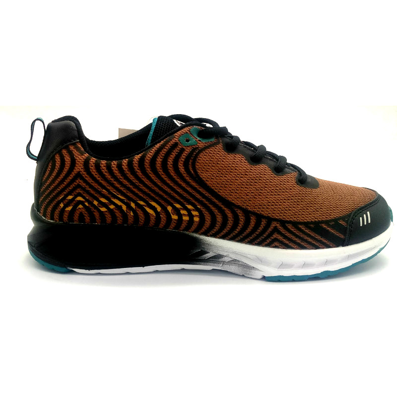 Black & Gold Rubber printed mesh upper Men Sport shoes with phylon outsole