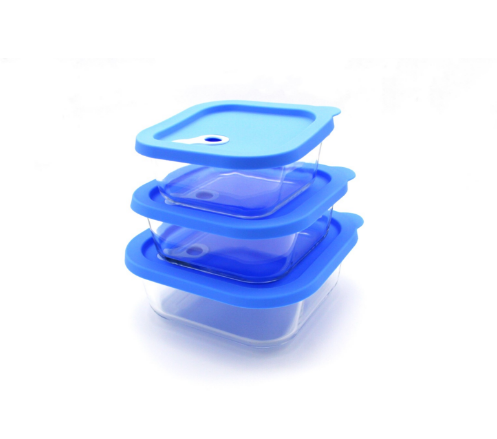 Square baby using glass food container