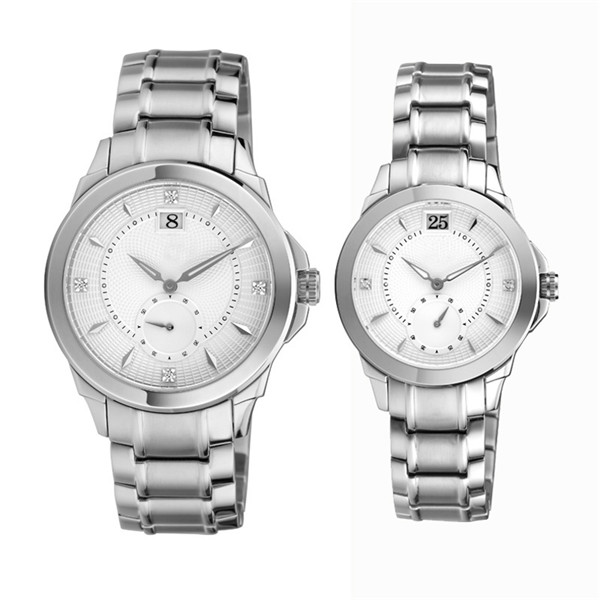 Steel Color Couple Watch