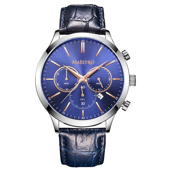 Multifunction Men Watch with Leather Strap
