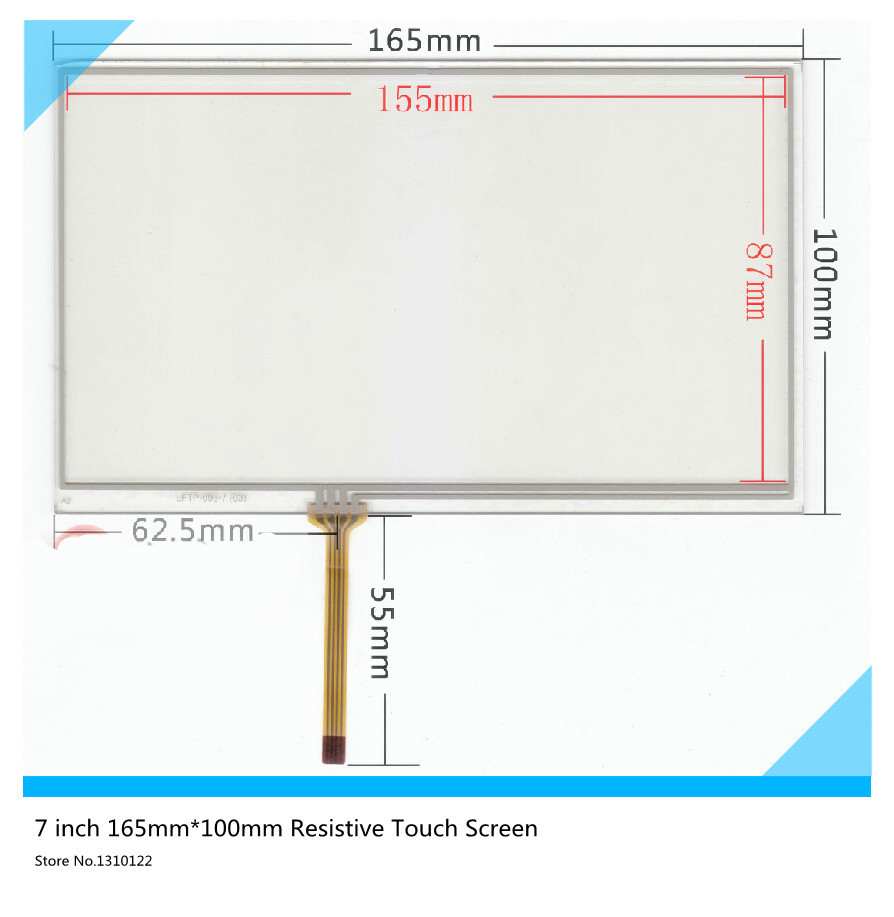 7 ''inch 165mm*100mm Resistive Touch Screen Digitizer for Car navigation DVD (The wire on the right) touch panel Glass