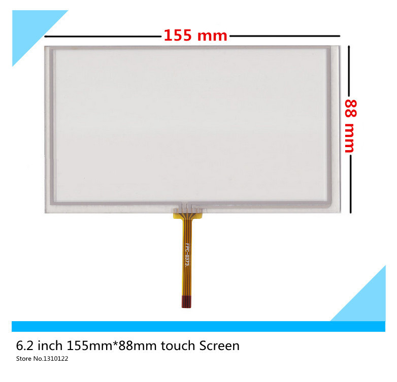 2 pcs 6.2 inch 4 wire 155mm*88mm Resistive Touch Screen Digitizer HSD062IDW1 A00 A20 TM062RDH03 touch panel Glass