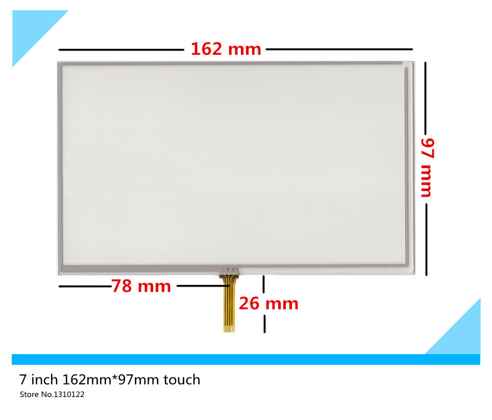 2pcs 7 inch 4 wire 162mm*97mm Resistive Touch Screen Digitizer GPS navigator Car navigation DVD Touch panel Glass Free shipping