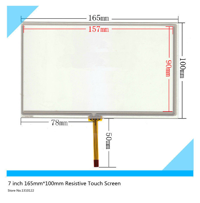 7 inch 165mm*100mm Resistive Touch Screen Digitizer for Car navigation DVD tablet PC (The wire in the middle) touch panel glass