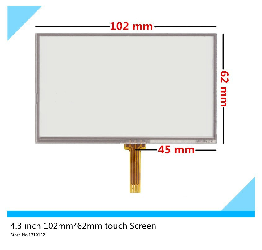 4.3 inch 102mm*62mm Resistive Touch Screen Digitizer for GPS navigator A043TN24 V.4 V.1 touch panel free shipping