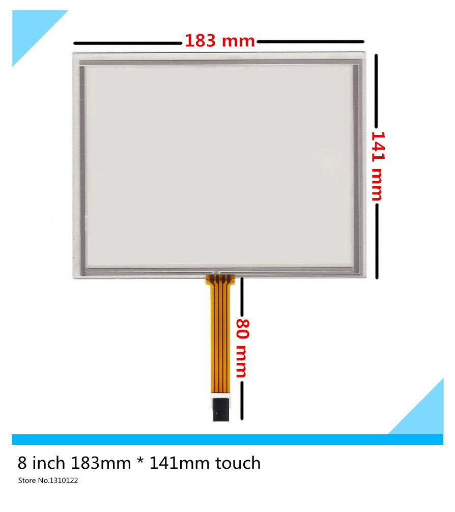 8 inch 4 wire 183mm*141mm Industrial equipment Resistive Touch Screen Digitizer EJ080NA-5A; AT080TN52 V.1 LCD touch screen