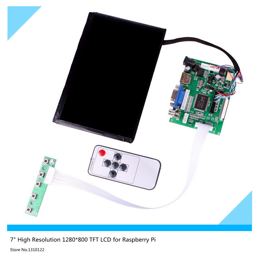 7inch LCD Display High Resolution 1280*800 IPS Screen With Remote Driver Control Board 2AV HDMI VGA For Raspberry Pi
