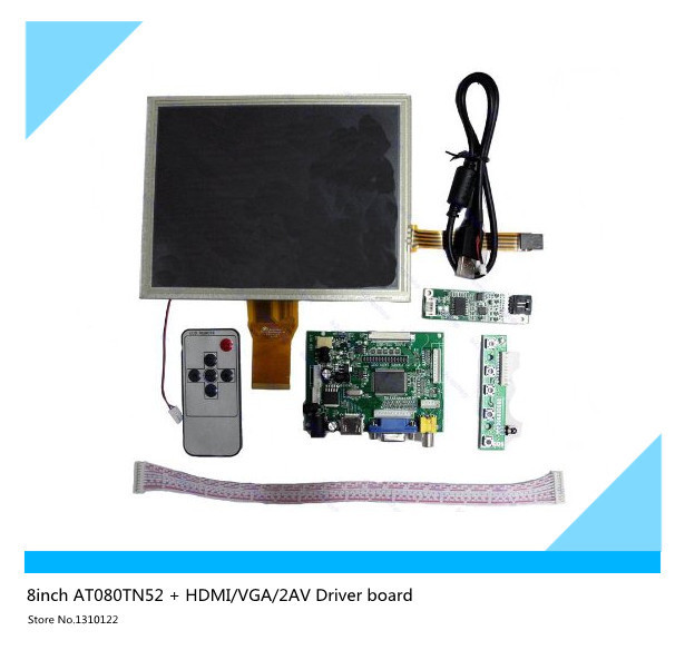 8''inch AT080TN52 LCD + HDMI/VGA/2AV Driver board +touch panel kit for Raspberry Pi Free shipping