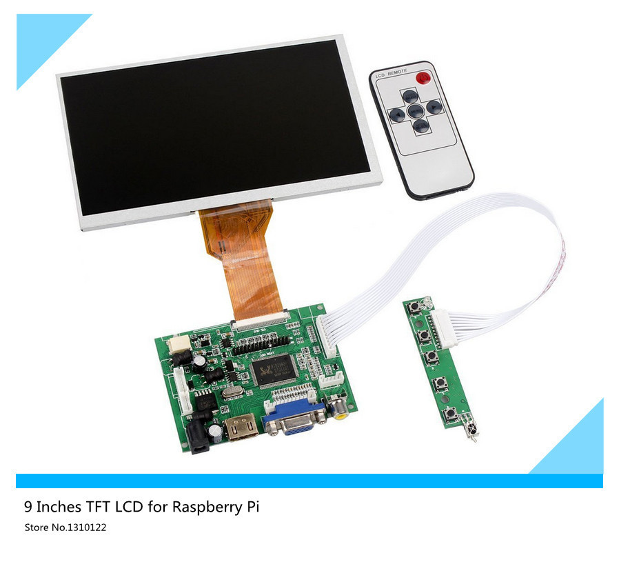 9''inch LCD Display Raspberry Pi LCD Display Screen TFT Monitor AT090TN12 HDMI VGA Input Driver Board Controller