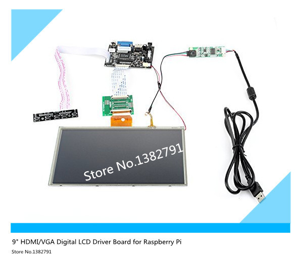 9'' inch LCD display HDMI/VGA Digital LCD Driver Board with Touch Screen for Raspberry Pi Free shipping