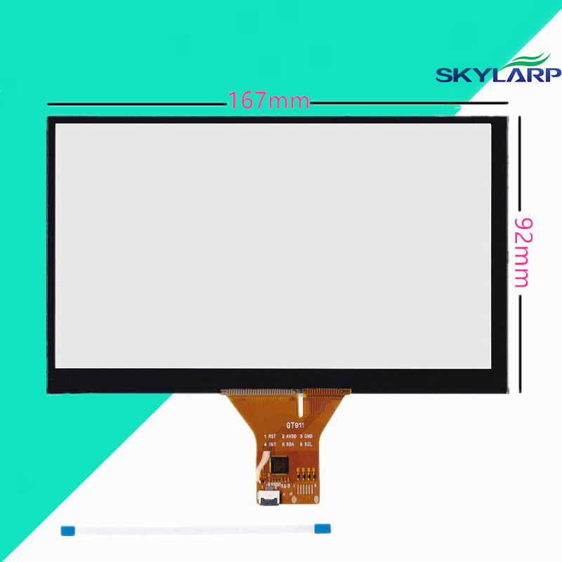 6.95 Capacitive Touch Panel 167x92mm for 1024x600 Android Car DVD GPS Replace Screen touch panel Glass Free shipping