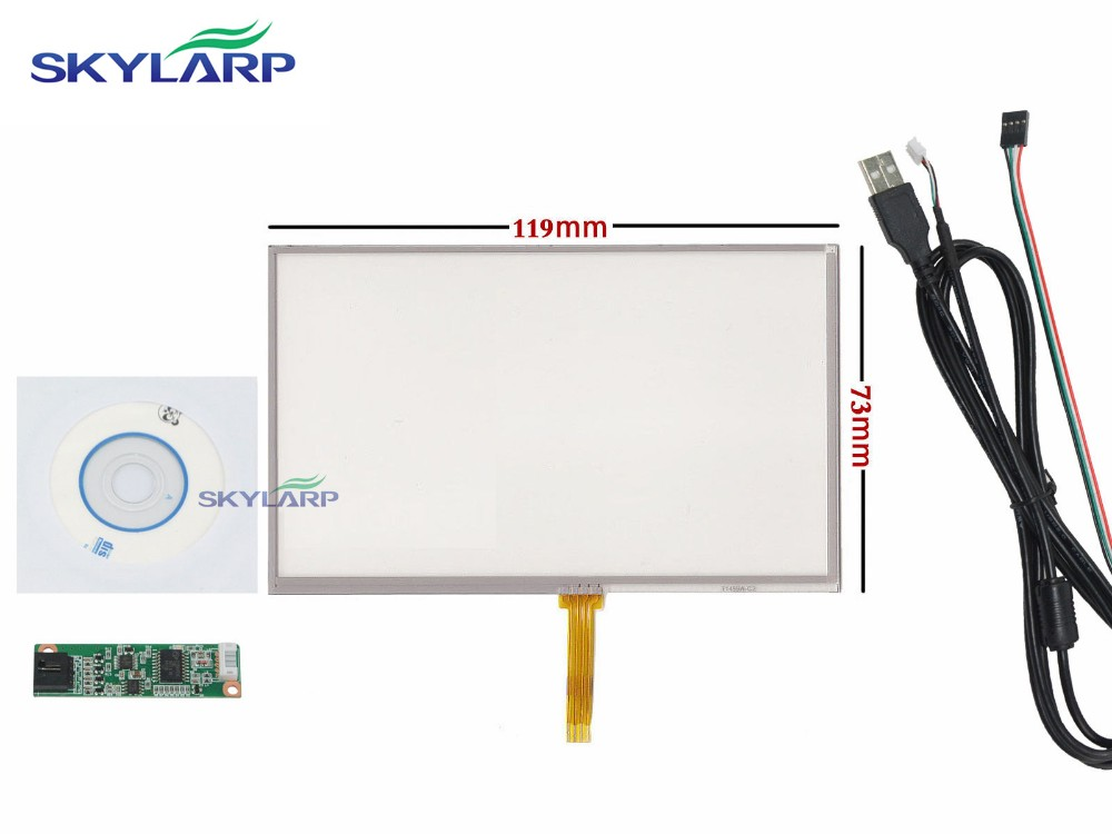 5 inch 4 Wire Resistive Touch Panel USB Controller For 5 AT050TN43 Screen touch panel Glass Free shipping