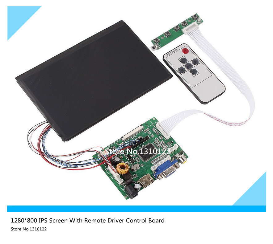7 Inch High Resolution 1280*800 IPS Screen With Remote Driver Control Board 2AV HDMI VGA for Raspberry Pi Free shipping