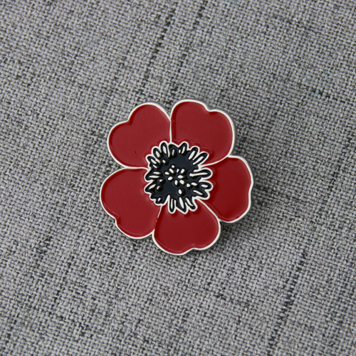 Poppy Flower Lapel Pins