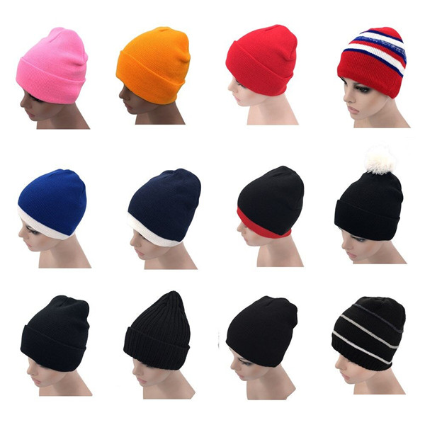 3e96335c877 Custom Unisex Plain acrylic cotton Winter boy woman Hats Solid Color thick  Knitted Hat