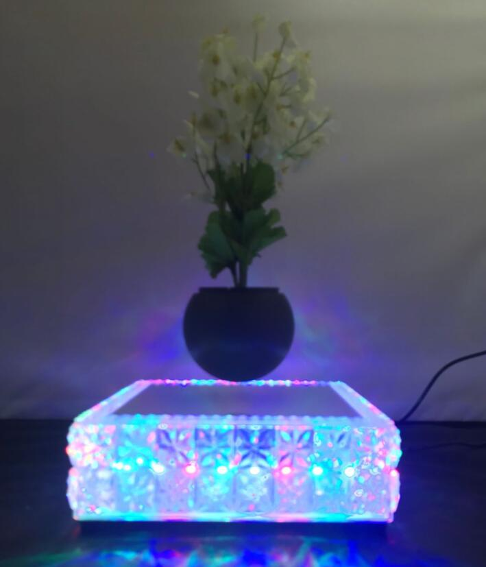Colorful lights square base magnetic Levitation floating air bonsai