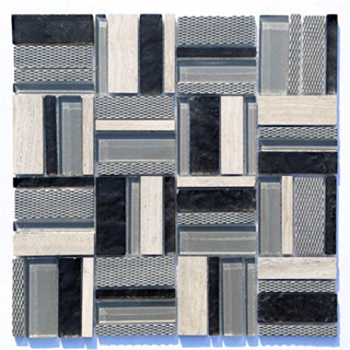 High quality rectangle black and grey glass mosaic manufacturer
