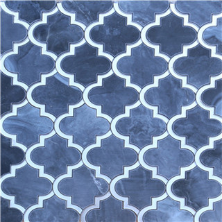 Beautiful waterjet marble mixed mirror mosaic supplier