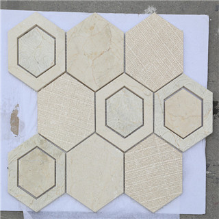 Beige hexagon decorative building material waterjet mosaic factory