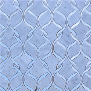 Customized newest fashionable light blue waterjet mosaic