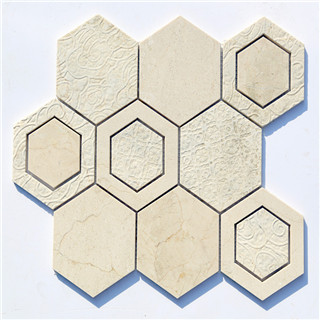 Hot sale hexagon texture durable waterjet mosaic supplier