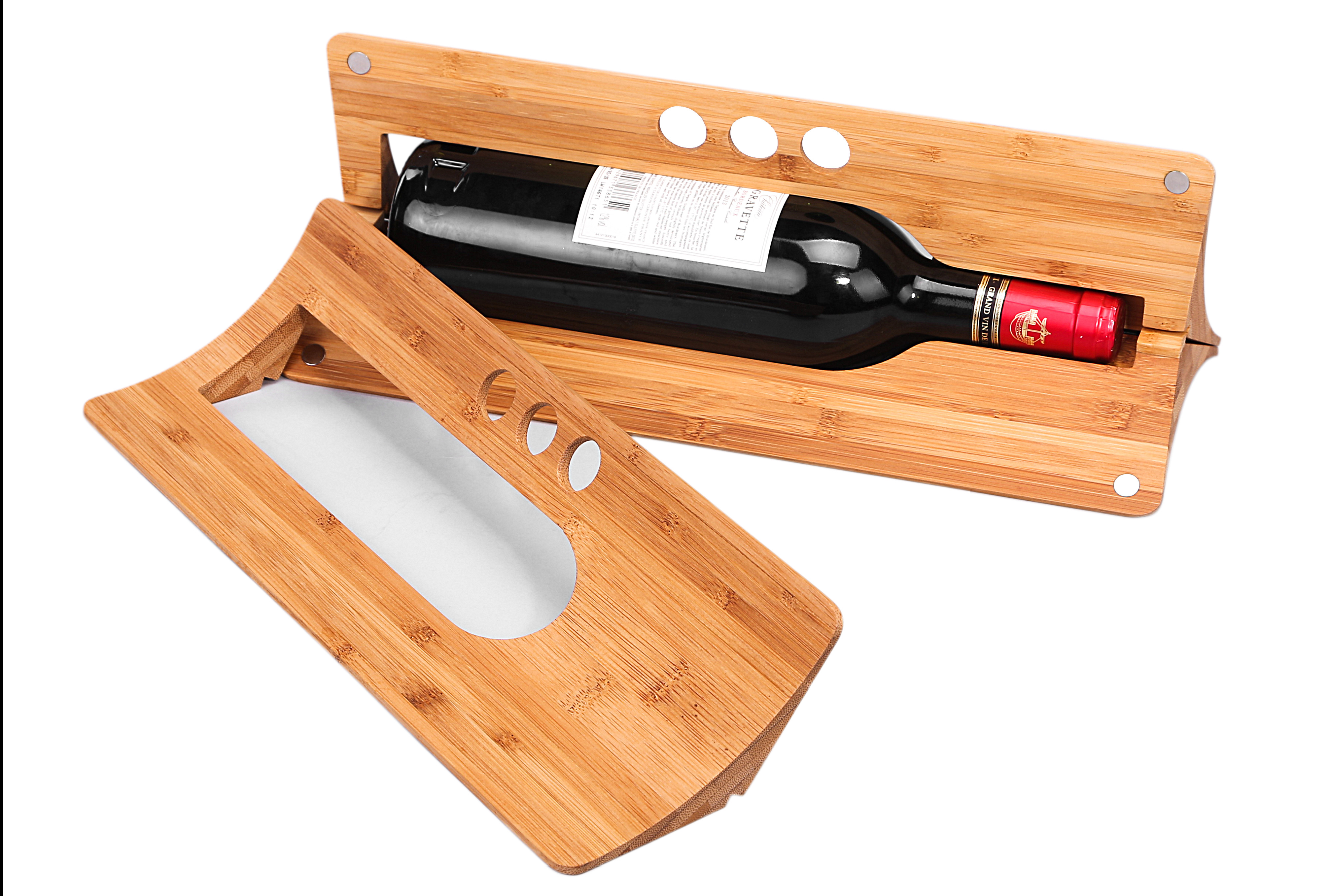 Eco-friendly Triangle Carbonized Bamboo Wine Display Packaging and Single Wine Gift Box