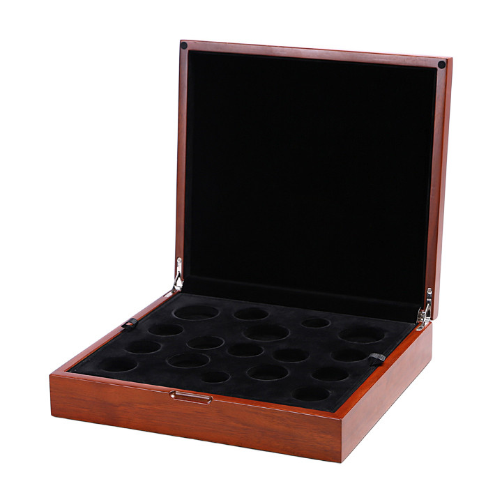 Natural NC Flat Lacquered Collection Wooden Commemorative Presentation Coin Box